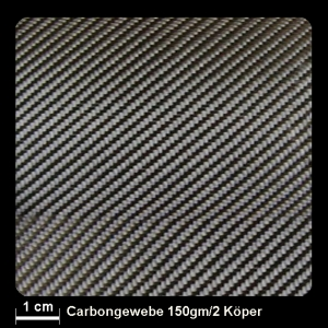Carbongewebe 412 150g/m² Köper 100cm